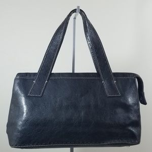 Authentic Fossil Black All Leather Handbag Purse